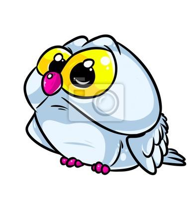 Búho Pájaro Grandes Ojos De Dibujos Animados Ilustración