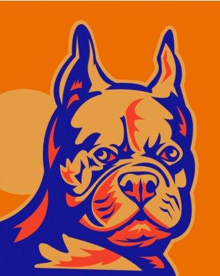Bulldog francés cabeza retrato retro