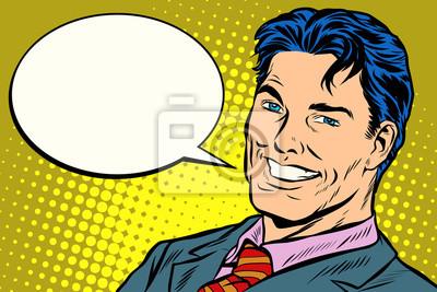 burbuja de cómics de discurso empresario sonriente