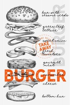 Póster Burger illustration for food restaurant and truck on vintage background.