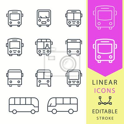 Bus - conjunto de iconos de vector de línea. Trazo editable
