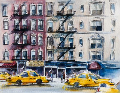 Póster Busy New York street. Watercolor sketch