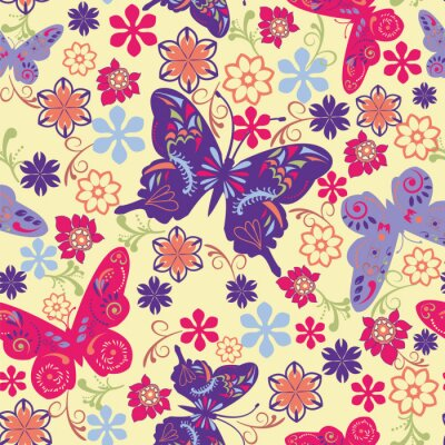 Póster Butterfly and Flower Seamless Pattern - Illustration