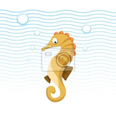 Caballo de mar de dibujos animados de moda nadando bajo el agua ...