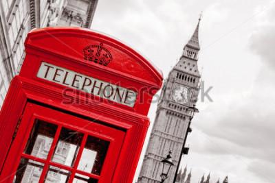 Póster Cabina telefónica roja y big ben. Londres, Inglaterra