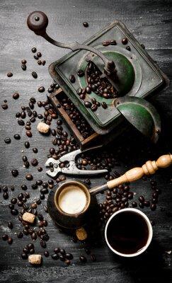 Póster Cacerola de café recién hecho