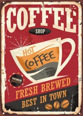 Póster Café diseño de la muestra de estaño retro con taza de café sobre fondo rojo
