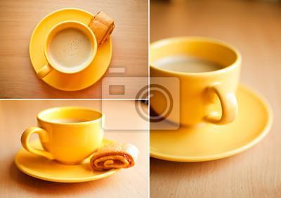 Café en una taza de color amarillo