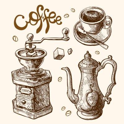Póster Café ilustración boceto
