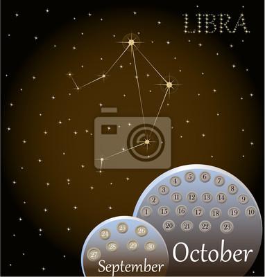 Calendario Zodiacal.Poster Calendario Del Signo Zodiacal De Libra