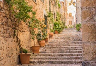Póster Calle antigua villa mediterránea escaleras