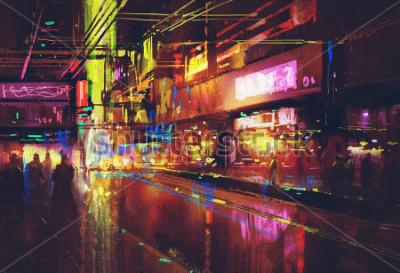 Póster Calle de la ciudad con iluminación y vida nocturna, pintura digital.