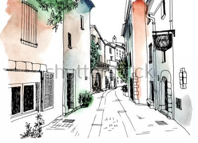 Póster Calle de la ciudad vieja en estilo boceto dibujado a mano. Ilustracion vectorial Pequeña ciudad europea. Francia. Paisaje urbano sobre fondo colorido acuarela