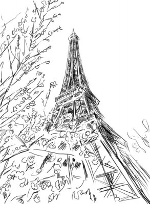 Póster Calle de París - ilustración