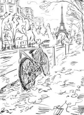 Póster Calle en el otoño de París. Torre Eiffel -sketch ilustración