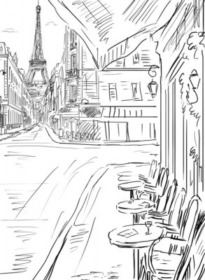 Póster Calle en la ilustración-paris boceto