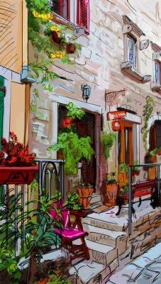 Póster Calle en Roma - ilustración
