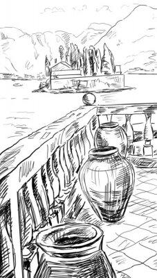 Póster Calle en Roma - ilustración boceto