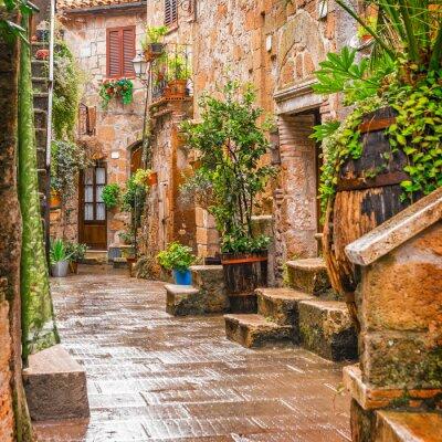 Póster Callejón en la Ciudad Vieja Pitigliano Toscana Italia