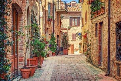 Póster Callejón en la Ciudad Vieja Toscana Italia