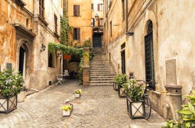 Póster Callejón romántico en la parte antigua de Roma, Italia