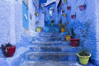 Póster Calles de la hermosa ciudad azul de Chefchaouen, Marruecos