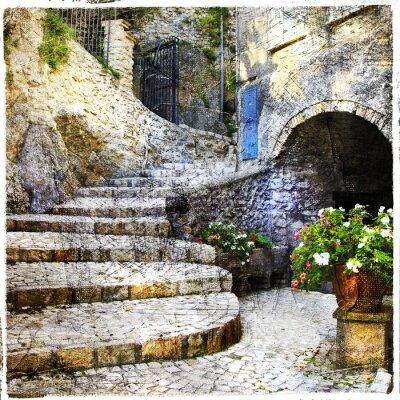 Póster calles de la vieja pueblos- italiano Casperia, fotografía artística