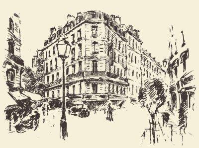 Póster Calles París Francia vintage ilustración dibujado