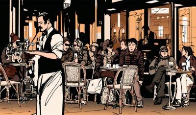 Póster Camarero servir a los clientes en el café parisino tradicional al aire libre