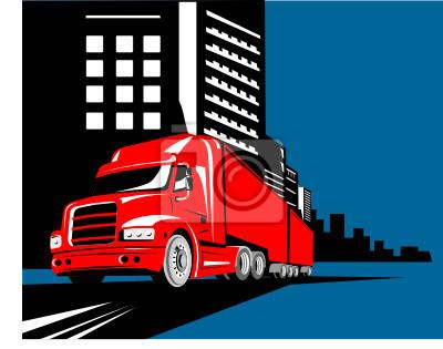 Camión con edificios en el fondo