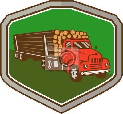 Camión del vintage Logging Shield Retro