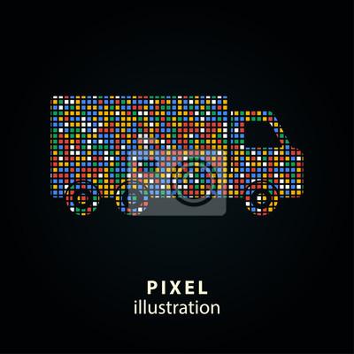 Camión - ilustración de píxeles.