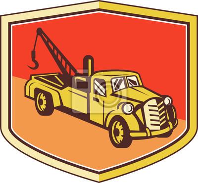 Camión remolque vintage Wrecker Shield Retro