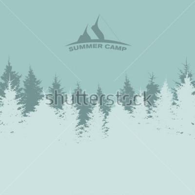Póster Campamento de verano. Imagen de la naturaleza. Silueta del árbol. Ilustración
