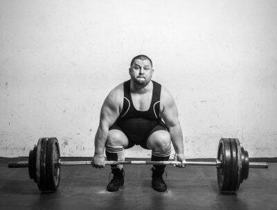 Póster Campeón Powerlifter con fuertes brazos levantamiento de pesas