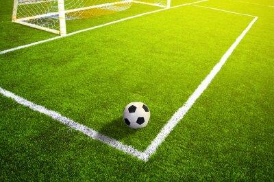 Póster Campo de césped de fútbol con la marca y la pelota, Deporte