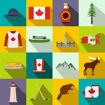 Póster Canadá iconos plana