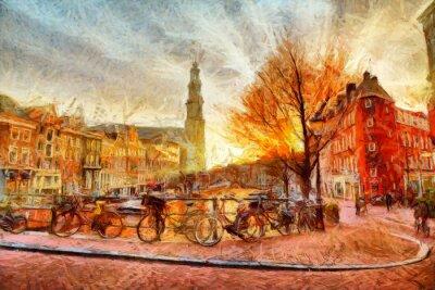 Póster Canal de Amsterdam en la pintura impresionista de la tarde