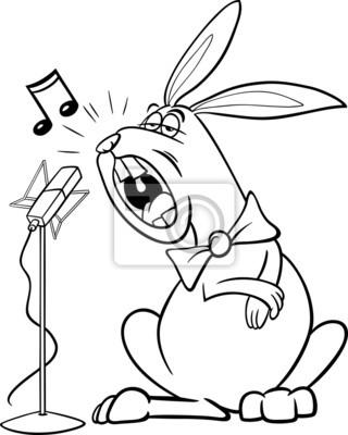 Cantando para colorear de dibujos animados de conejo carteles para ...