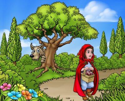Póster Caperucita Roja Escena de dibujos animados