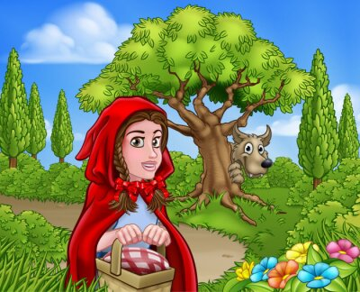 Póster Caperucita roja y escena del lobo