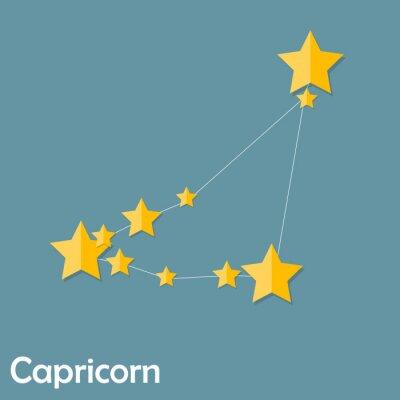 Póster Capricornio, signo del zodiaco de la brillante hermoso Estrellas Vector Illus