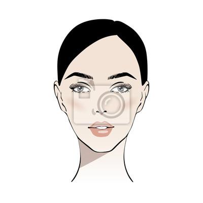 Póster Cara morena hermosa de la mujer con el ejemplo desnudo del vector del maquillaje. Elegante retrato de gráficos originales con modelo de chica atractiva joven hermosa. Moda, estilo, belleza. Dibujo grá