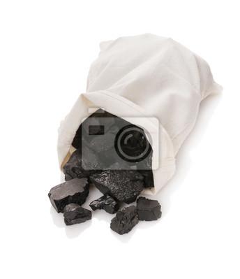 Carbón en una bolsa