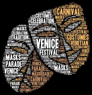 Póster Carnaval de Venecia en Italia nube de palabras
