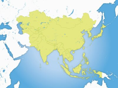 Póster Carta asie, et frontières fleuve
