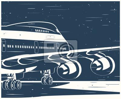 Cartel antiguo de grandes aviones civiles