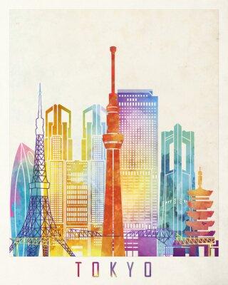 Póster Cartel de acuarela de hitos de Tokio