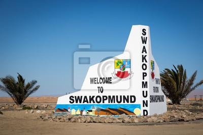 Cartel de bienvenida en Swakopmund, Namibia, África