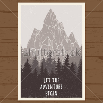 Póster Cartel de coníferas silvestres con montaña; Pino, paisaje natural, madera panorama natural; Aventura al aire libre camping, senderismo, turismo, plantilla de diseño; dibujado a mano ilustración vec